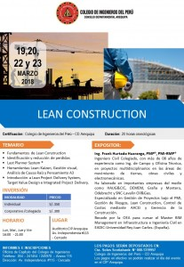 LEAN CONSTRUCTION – 19, 20 22 y 23 Marzo