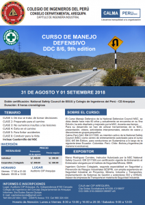 Curso de Manejo Defensivo DDC 8/6, 9th edition | 31 Agosto y 01 Setiembre 2018