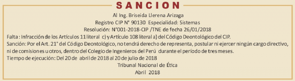 SANCION Briseida Llerena