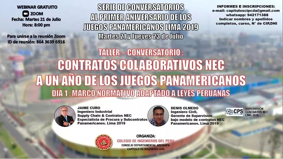 Contratos colaborativos Juegos Panamericanos 2019 NEC – New Engineering Contract | 21 y 23 Julio 2020